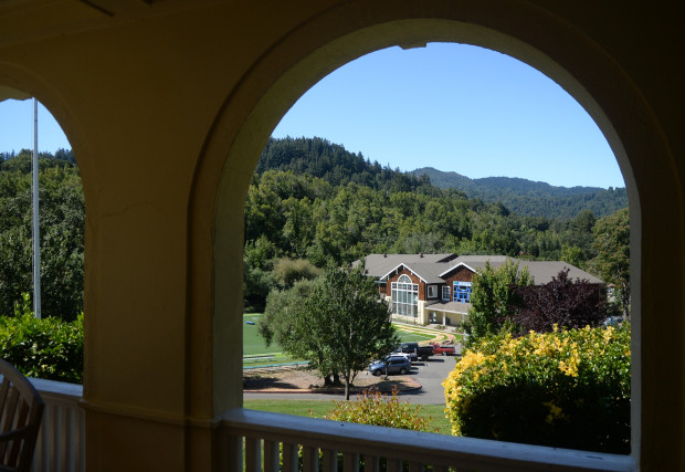The Branson School gymnasium is seen from the school's library in Ross, Calif. on Friday, Aug. 2, 2019. (Alan Dep/Marin Independent Journal)
